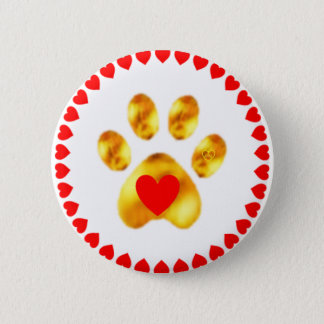 paw with hearts 6 cm round badge