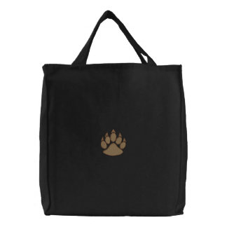 Paw with outline embroidered tote bags