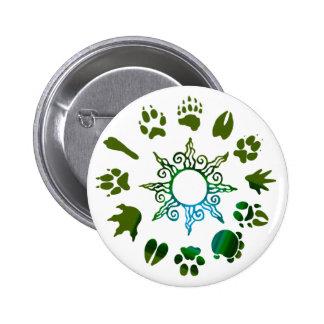 pawprint circle darkgreen pinback buttons