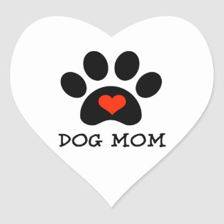 Pawprint Dog Mom Heart Sticker