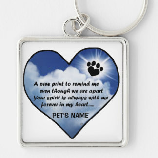 Pawprint Memorial Poem Silver-Colored Square Key Ring