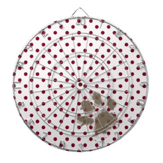 Pawprint on Burgundy Polka Dots Dart Boards