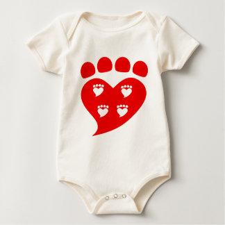 Pawprints Heart Logo T Baby Bodysuit
