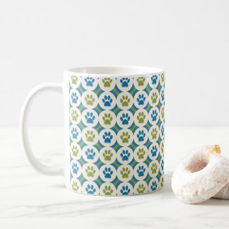 Paws-for-Coffee Mug (Olive/Teal)