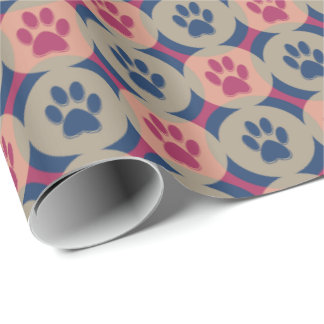 Paws-for-Giving Gift Wrap (Berry/Navy)