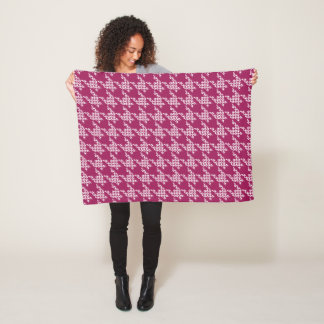 Paws-for-Houndstooth Fleece Blanket (Berry)