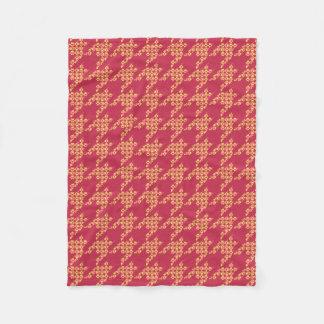 Paws-for-Houndstooth Fleece Blanket (Cinnamon)