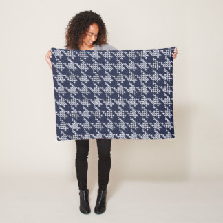 Paws-for-Houndstooth Fleece Blanket (Navy)