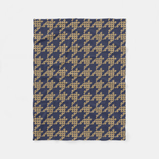 Paws-for-Houndstooth Fleece Blanket (Navy/Butter)