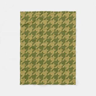 Paws-for-Houndstooth Fleece Blanket (Olive)