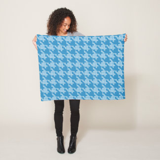 Paws-for-Houndstooth Fleece Blanket (Sky)