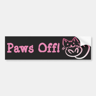 Paws Off, Pink Pussy Cat Bumper Sticker