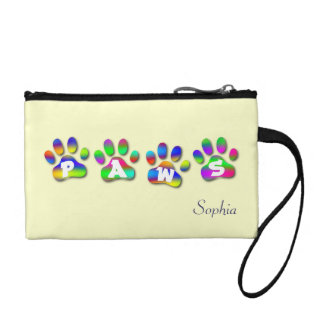 Paws Rainbow Color Paw Prints Key Coin Clutch