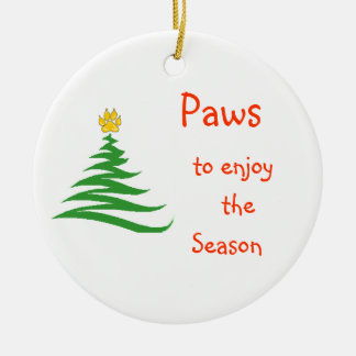 Paws to enjoy the Season Round Ceramic Decoration
