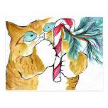 Paws Yank! Orange Tiger & Candy Cane Postcard