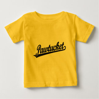 Pawtucket script logo in black distressed baby T-Shirt