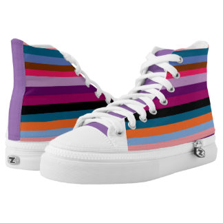 Paxspiration Peace Stripes Zipz High Top Sneakers