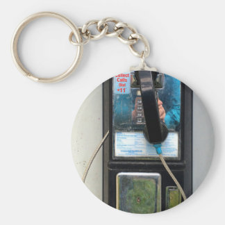 Pay Phone Basic Round Button Key Ring