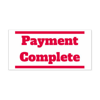"""""""Payment Complete"""" and Solid Lines Rubber Stamp"""