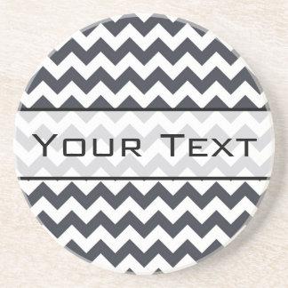 Paynes Grey Chevron with Custom Text Coaster