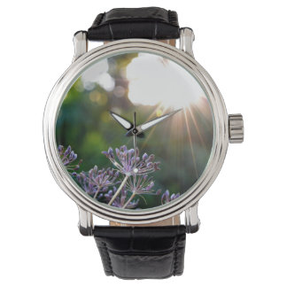 Paysage Fleur violet Custom Cuir vintage Shows Watch
