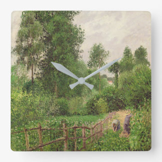Paysage, temps gris a Eragny Square Wall Clock
