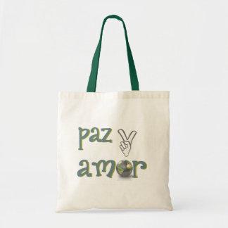 paz y amor canvas bags