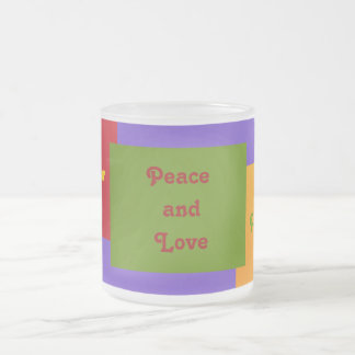 Paz y Amor Peace and Love Frosted Glass Coffee Mug