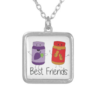 PB and J Best Friends- Color Silver Plated Necklace
