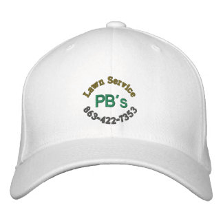 """PB's Lawn Service"" Baseball Hat Embroidered Baseball Caps"