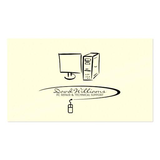 PC Repair/Tech Support Business Card (Plain White)