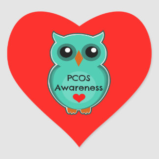 PCOS Awareness Owl Heart Stickers