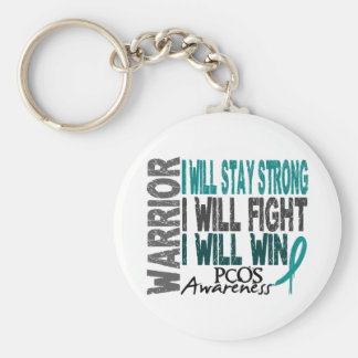 PCOS Warrior Basic Round Button Key Ring