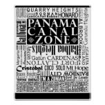 PCZ – Panama Canal Zone Locations w/ Border Poster