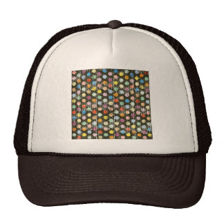 pd21 GRUNGE COLORFUL POLKADOTS PATTERNS CIRCLES TE Hats