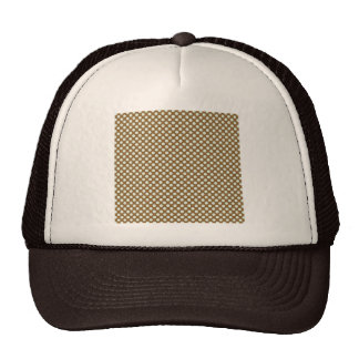 pd23 BROWN WHITE CIRCLES POLKADOTS PATTERN BACKGRO Mesh Hats
