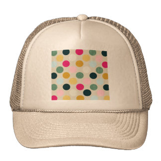 pd44 COLORFUL GRUNGE POLKADOTS POLKA DOTS PATTERNS Hat