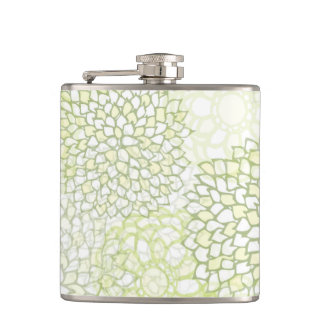 Pea Green and White Flower Burst Hip Flask