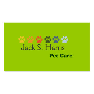 Pea Green Pet Animal  Care Business Card