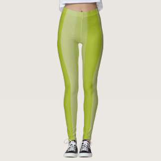 Pea Green Striped Leggings