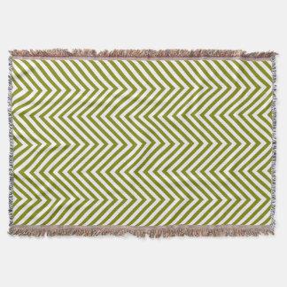 Pea Green White Zigzag - Throw Blanket