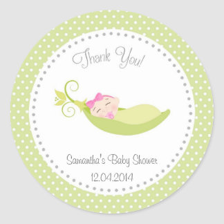 Pea In A Pod Baby Girl Shower Sticker Green