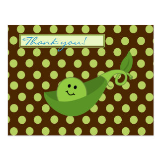 Pea in a Pod Boy Baby Shower Thank You Postcard