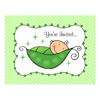 Pea In My Pod Baby Shower Postcard