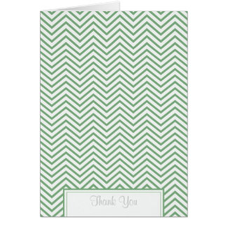 Pea Pod Green Chevron Print Thank You Card