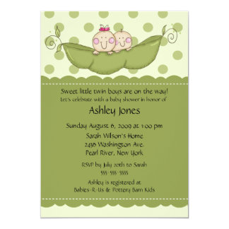Pea Pod Twin Boy & Girl Baby Shower Invitations