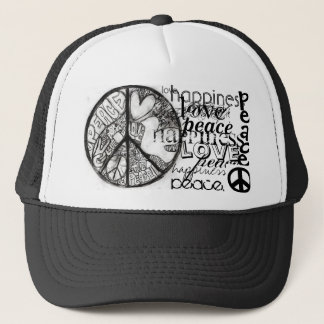 peace-1, peace_4, peace., peace., love., happin... trucker hat