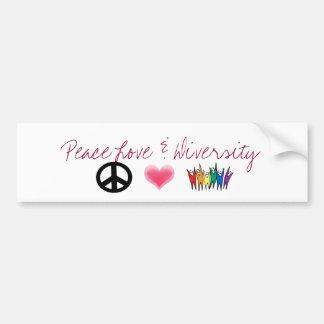 peace_4, Hearts, diversity, Peace Love & Diversity Bumper Sticker