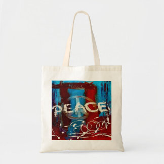 Peace abstract colors blue, red & white budget tote bag