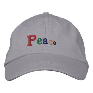 """Peace"" Adjustable Cap Embroidered Hat"